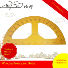 High Quality Wood Stationery Ruler Round Teaching Protractor For School Use