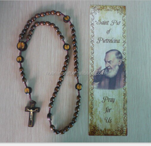 Custom crafts decorating saint religious catholic 59 wood bead epoxy rosary with image