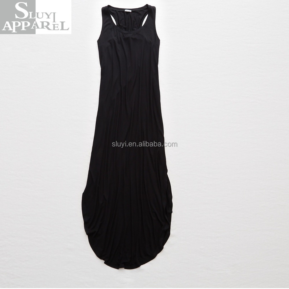 Online Shopping Plus Size Women Clothing Racer Back Scoop Neck Easy Cozy Sexy Casual Dress For Women Curved Hem Maxi Dress
