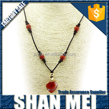 Elegant design red stone and red agate heart shape pendant gems necklace