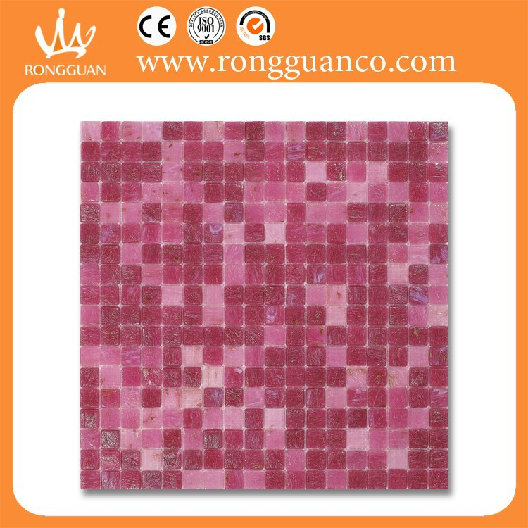 pink color glass mosaic kitchen backsplash material