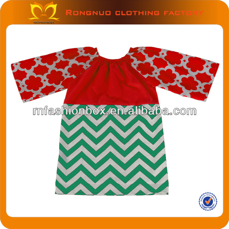 Christmas red green girls party dress,cotton chevron print dresses,childrens prom gown