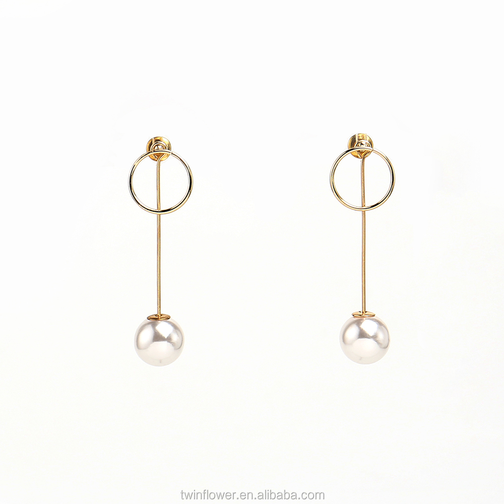 Gold Color Imitation Pearl Circle Women Long Stick Earrings