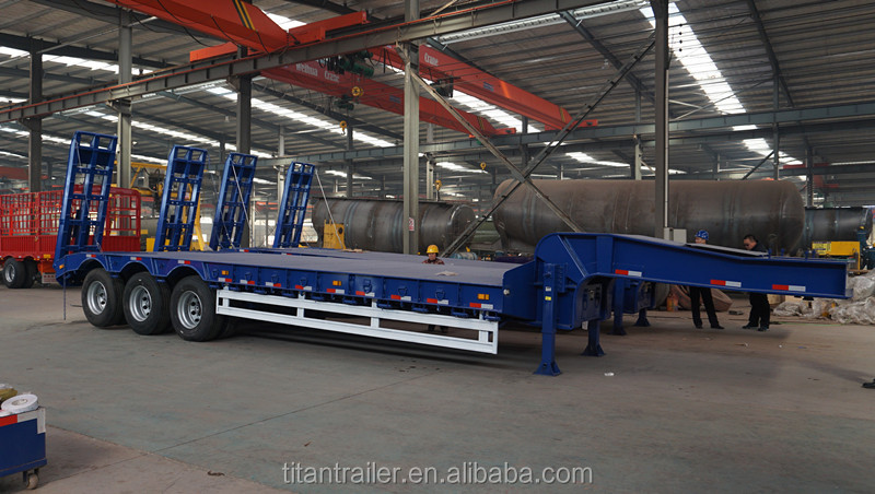 Titan 2 <strong>axle</strong> 80 tons low loader trailer , semi lowbed trailer for South Africa , Lowbed Trucks VehIcle