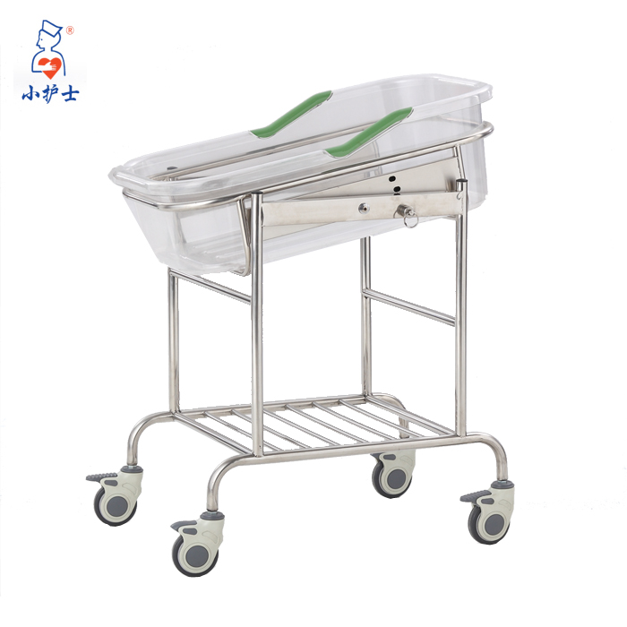metal frame baby cot with transparent bassinet