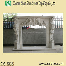 Cream Marfil Beige Marble Fireplace with angel Carving