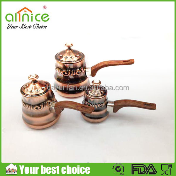 Copper Turkish Milk Pot with Wood Holder/ set of 3 Coffee Jug/arabic copper pot
