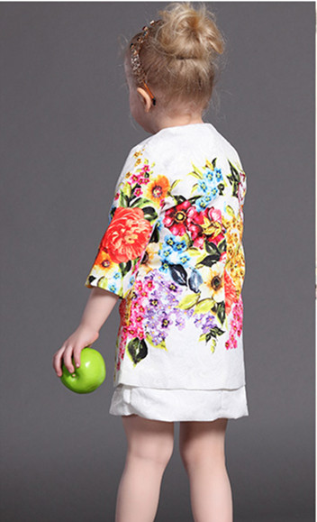 Spring winter sleeveless round neck mother & daughter print flora dress China garment manufacturer