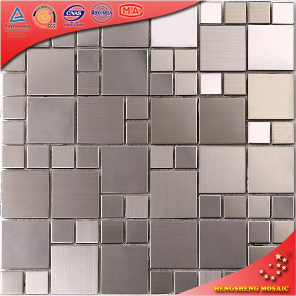 sliver mosaic inlay floor pattern stainless steel backsplash for glass tiles kitchen SA11