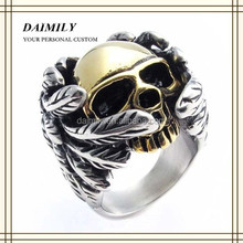 Wholesale Stainless Steel Jewelry Skull Rings Jewelry Plated Gold Skull Head Indian Wings Skull Ring