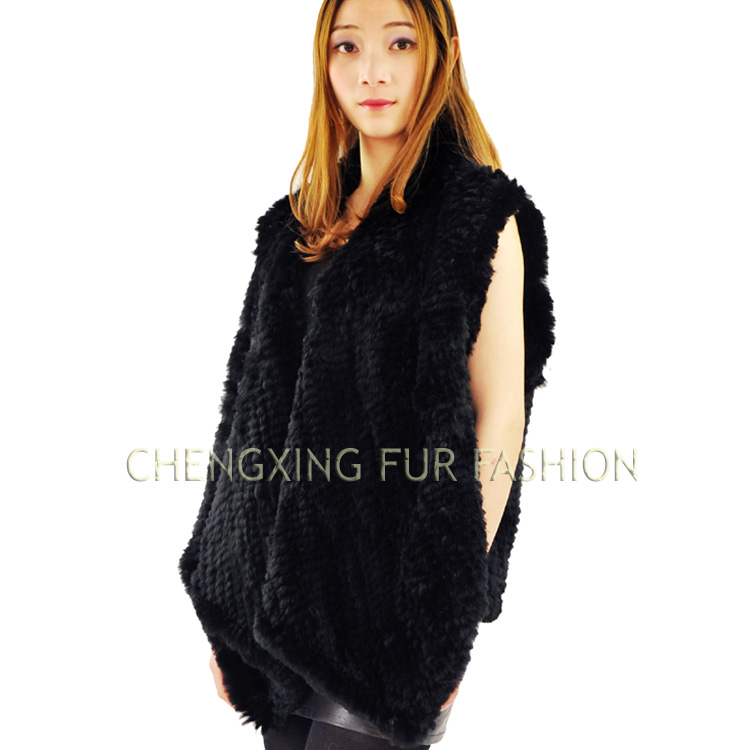 CX-<strong>G</strong>-B-<strong>03</strong> Casual Dress Real Rabbit Fur Vest Hand Knitted Rabbit Vest
