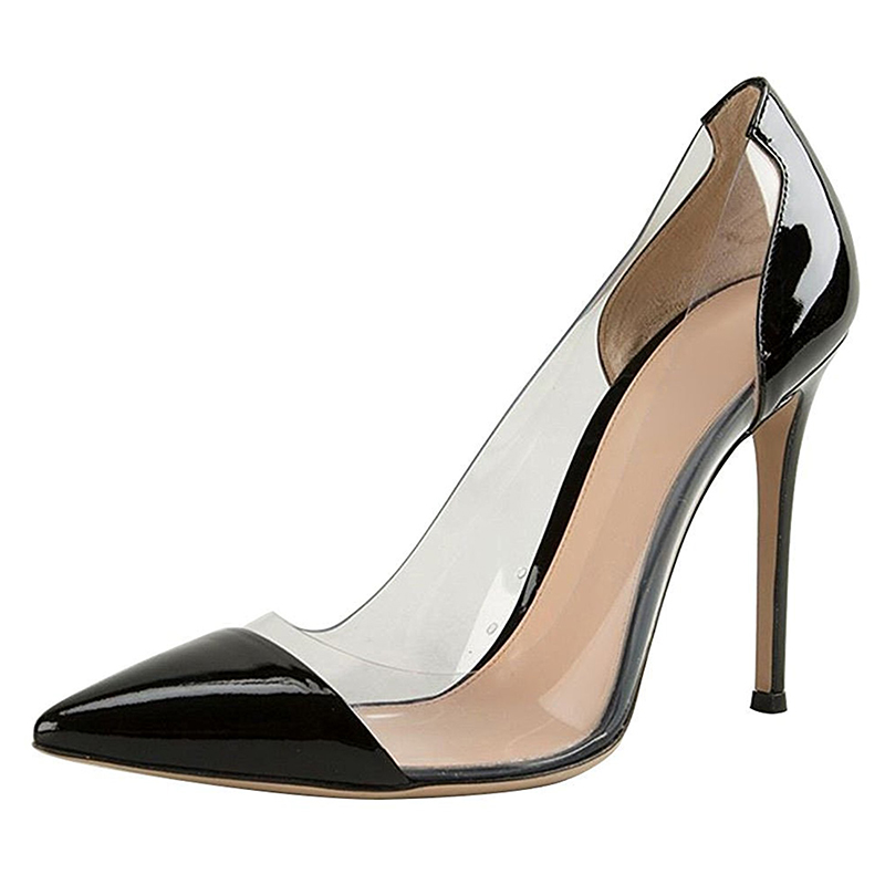 High Quality Ladies Dress Shoes Black Patent PU With Clear PVC Pointed Toe Women's Fetish High Heel Shoes