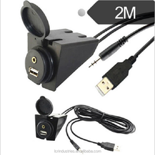 3.5mm 3 RCA Car Dashboard Flush Mount AUX USB Extension Cable Charging Socket