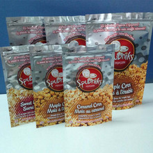 Food grade stand up snack food popcorn pouch