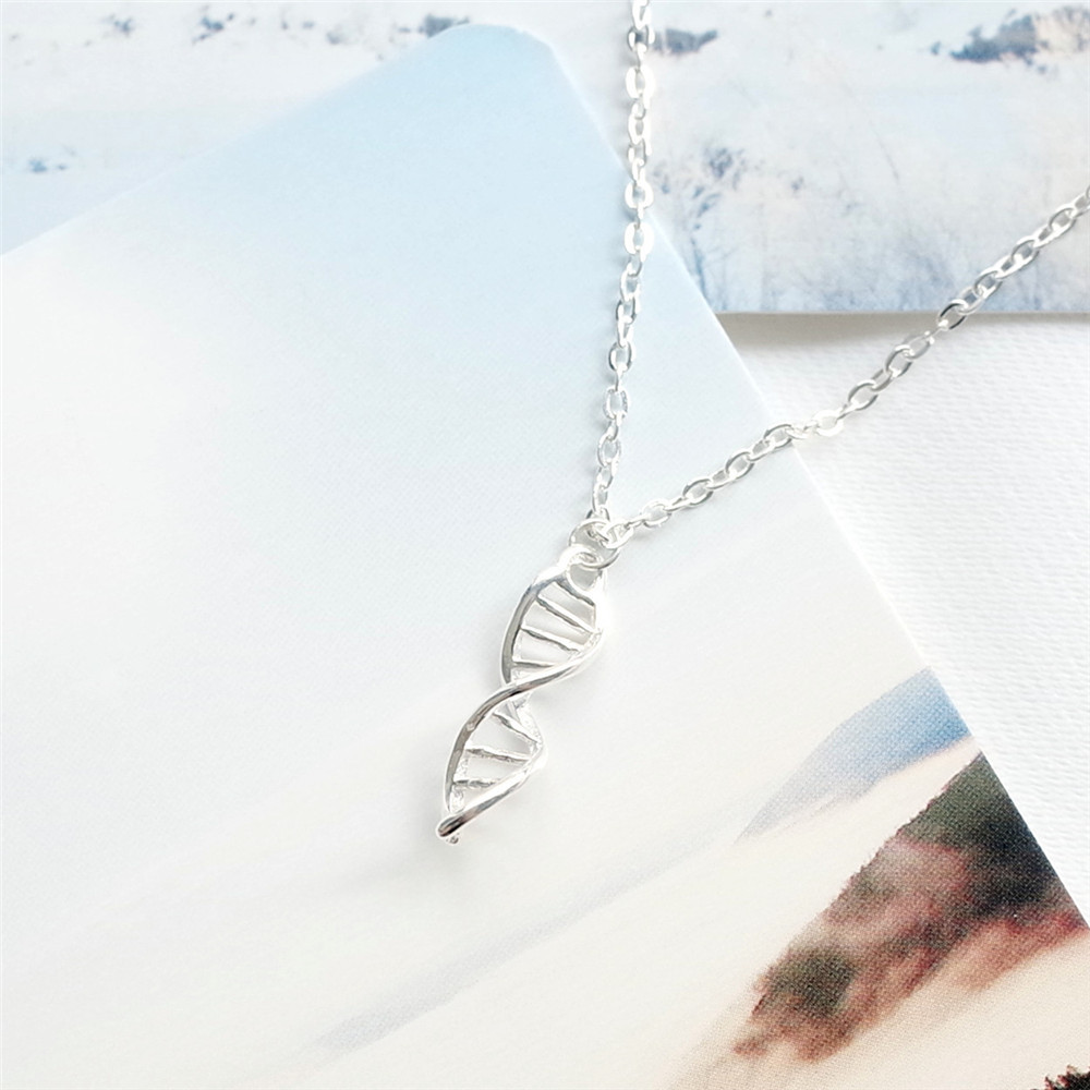 MYLOVE FREE SHIPPING Valentine's Day gift 925 sterling silver DNA double helix pendant necklace