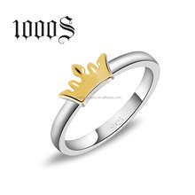 Ally Express Cheap Wholesale Ring Sterling Silver 925 Double Color Plaitng Gold Crown Ring
