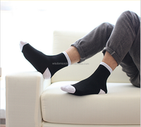 High quality 100%cotton business men black dress socks with logo