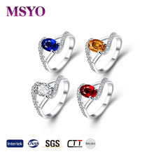 wholesale 925 stearling silver ring with Various color stone jewelry for women