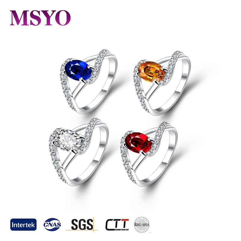 wholesale 925 sterling silver ring with Various color stone jewelry for women