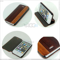 Cheap Price Wooden Cover Case Hybrid with PU Leather/ PU+Wood Case for iPhone 5S /Beautiful Natural Wood Case for iPhone 5/5S