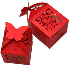 Sweet Red Paper Candy Box Wedding Gift Favor Box