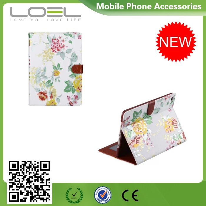 For iPad Air 2 Custom Leather Case Cute Flower Printing Case