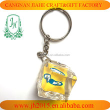 Ice-Cube Clear Acryic Key Ring Promotional Plastic Keychain