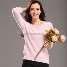 2015 Fashion Mink Cashmere Sweater Women Female Pullovers Pure Color O-neck Knitted Pullover ladies