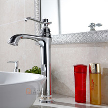 European style luxury ceramic brass chrome single hole modern bathroom sink faucet