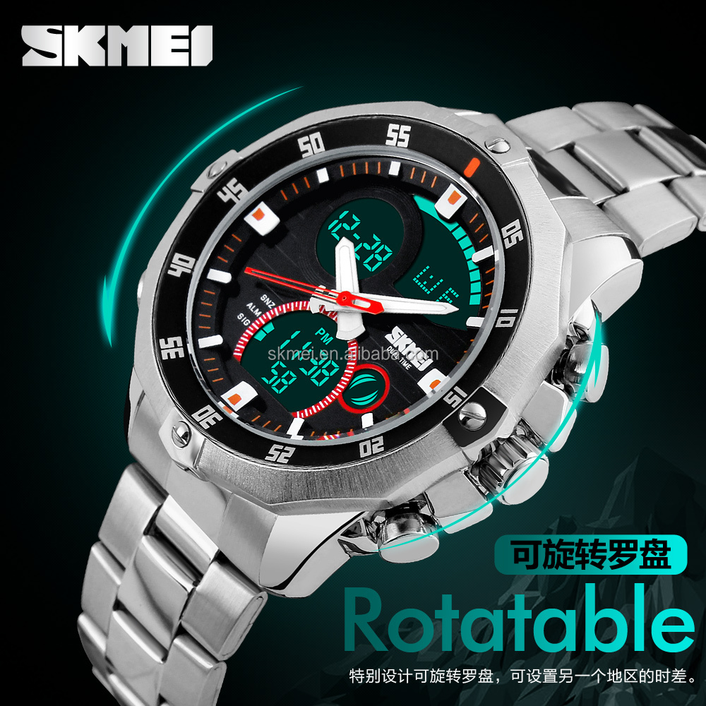 Men's Watches Top 2016 Feature Rich Mental Wrist Watch With Stopwatch Double Time