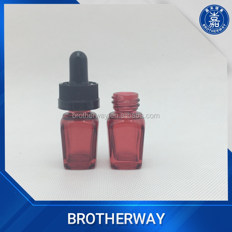 Wholesale 5ml red square glass dropper bottle with child proof dropper cap