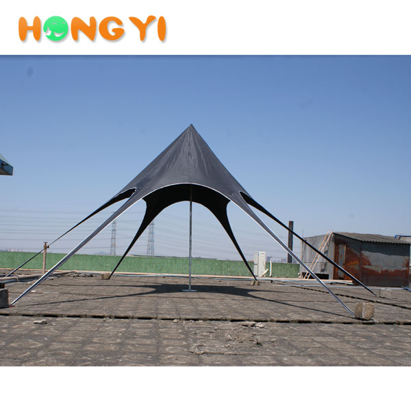 black advertising sunshade Hexagonal star tent portable folding use for Business Exhibition event