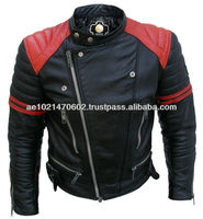 NWT Brando Black w/ Red Padded Power Shoulders Motorcycle Biker Racing Premium Genuine Real Pure Leather Jacket - All Sizes