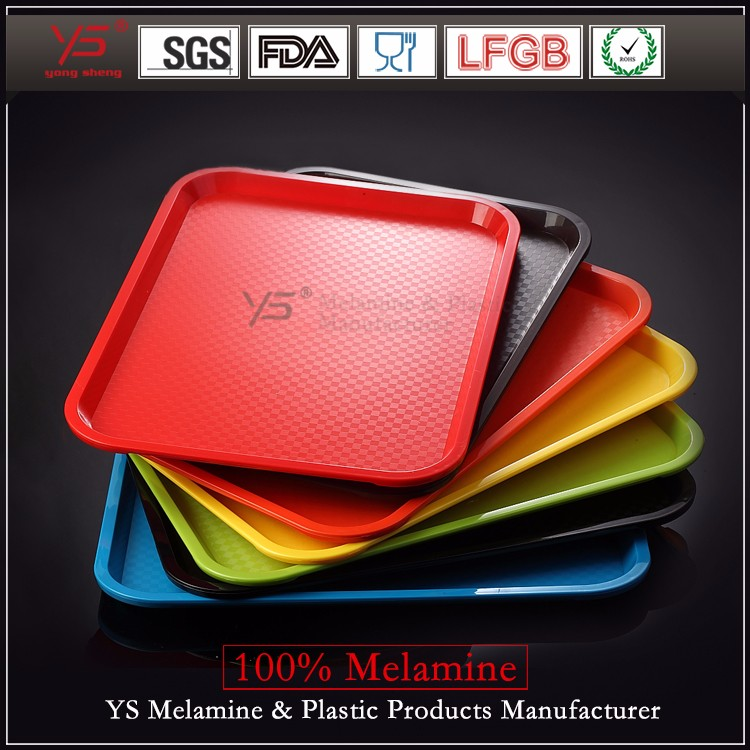 Trade assurance plastic fast food tray,100 melamine food serving tray, cheap plastic tray