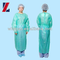 Disposable nonwoven surgical gown with PE coating