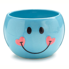 Blue Smiley Face Happy Face Candy Dish with Hearts