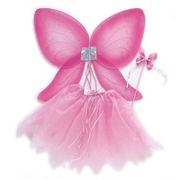 Party Costume Accessory Pink Fairy Wing Tutu Dress Headband Wand Set