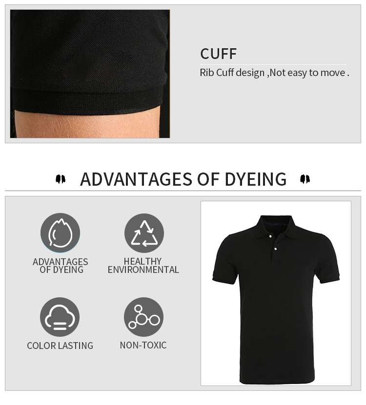 2017high quality men custom logo blank 100% cotton quick dry fit black sports golf pique polo t shirts factory import wholesale