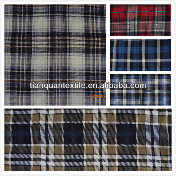 cotton t/c blue red black white check pattern printed flannel shirt fabric for philippines