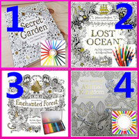 2016 Hot Selling Secret Garden Coloring Book For Adults, 4 Kinds of Books With Pencils, Factory Wholesale Adults Coloring Book