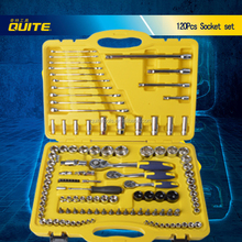 QUITE brand high quality blow case 120pcs socket set box spanner set auto tool set
