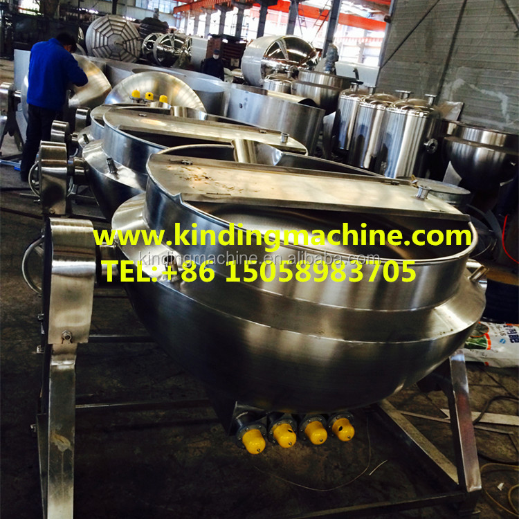 Stainless steel Industrial Tilting type Electric oil heating double Jacket cooking kettle with agitator/mixer for jam