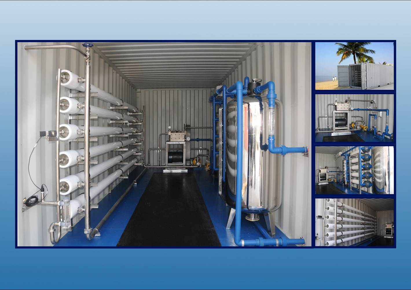 Mini Desalination Plant : Containerized mobile water treatment plant for sea