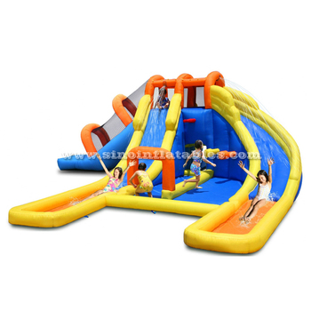 3 lanes kids water inflatable jumping castle with slides made of lead free pvc tarpaulin from China factory