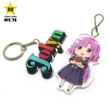 anime transparent plastic clear custom printed acrylic charms keychain