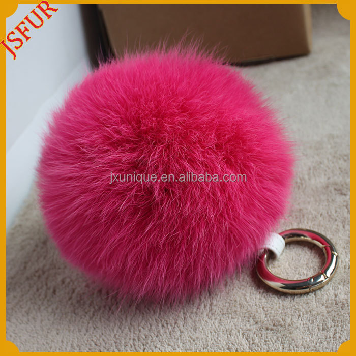 Stylish Dyed Genuine Fox Fur Ball Key Chain For Bag Accessory With Real Fur Pom Poms