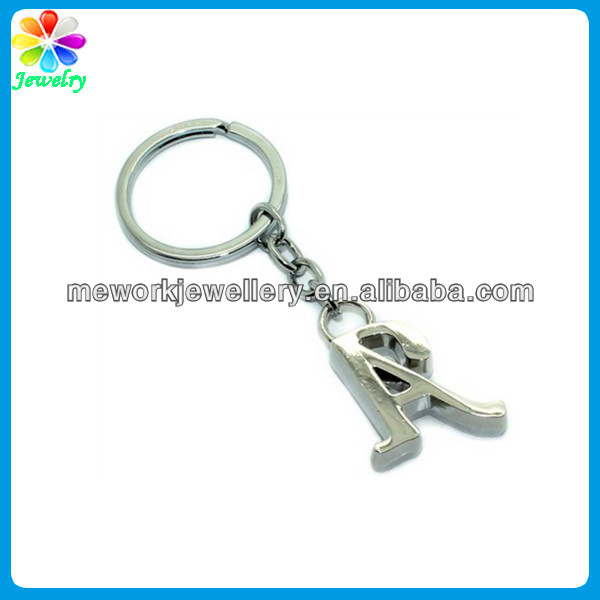 Stylish Silver Tone metal alphabet keychain Key Ring with Diamante Letter A Charm