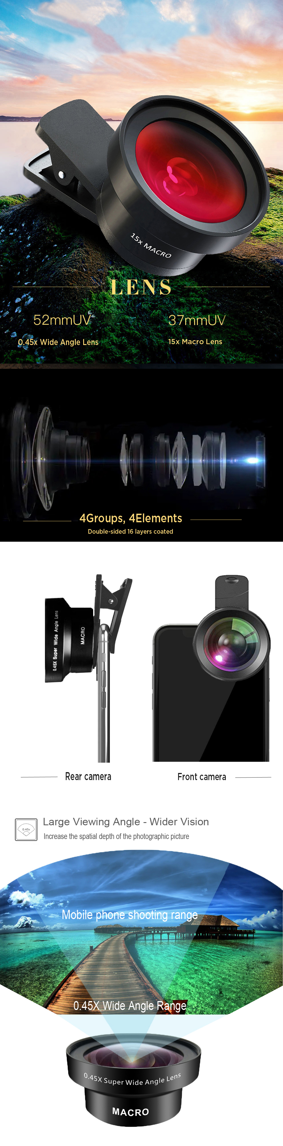 Amazon top seller  0.45x super wide angle macro cell phone lens for mobile camera lens