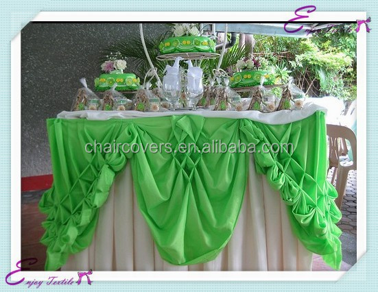 YHK#23 swag table skirt - polyester banquet wedding wholesale chair cover sash table cloth skirt linen