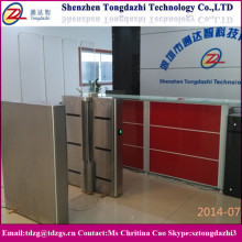 Full height automatic pedestrian swing barrier with biometric access control